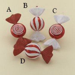 "6"" Red/White Candy Ornament"