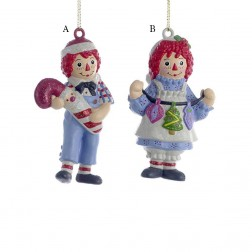 """3.5"""" Raggedy Ann/Andy Blow Mold Ornament"""