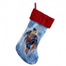 Blue Superman Applique Christmas Stockings with Red Cuffs