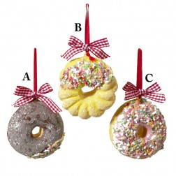 Plastic Doughnut Chocolate, Vanilla or  Pink Frosting with Red And White Ribbon Ornament