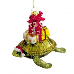 "Image of 4"" Glass Turtle with Gift Ornament"