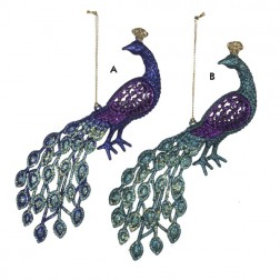 Image of Regal Peacock Purple and Blue Glittered Bird Christmas Ornament