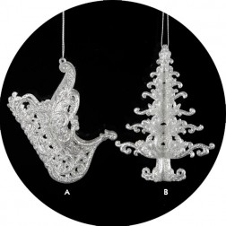 Silver Glitter Tree and Sleigh Christmas Ornament