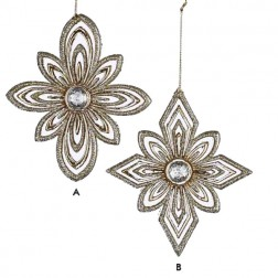 Ivory & Gold Glittered Snowflake Christmas Ornament