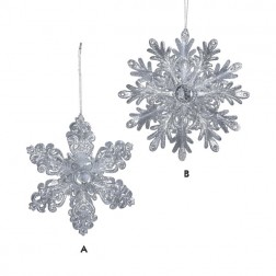 Silver Glitter with Clear Gem Center Snowflake Ornament