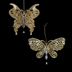 Gold Glittered Butterfly Ornament
