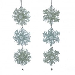 Winter Whispers Aqua and Green Glittered 3 Snowflake Ornament