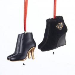 Fashion Avenue Black Stiletto & Wedge High Heel Boot Miniature Christmas Ornament