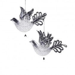 White and Clear Dove Ornament