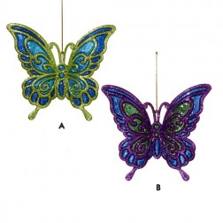 Glittered Peacock Butterfly Ornament