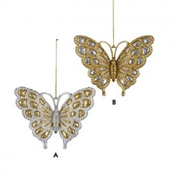 Acrylic Gold & Silver Glitter Butterfly Ornament