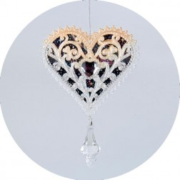 Acrylic Blush Heart With Clear Stone Ornament