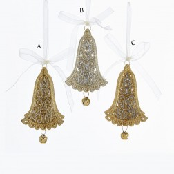 """Image of 4.8"""" Gold/Silver Bell with Bow Ornament"""