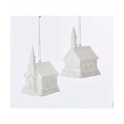 "Image of 4""Acrylic White Led Church Orn 2/A"