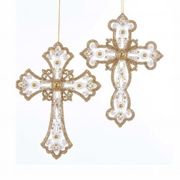 "Image of 6.25""Gold/Silver Cross Orn 2/Asstd"