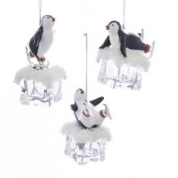 """Image of 4.25""""Plstc Penguin On Ice Orn 3/A"""