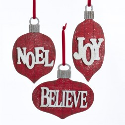 """Image of 5.125""""Joy/Noel/Believe Word Orns"""