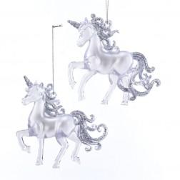"""Image of 4""""Plstc Clr W/Glttr Unicorn Orn 2/A"""