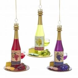 "Image of 5.25""Glass Wine Bottle Orn 3/Asstd"