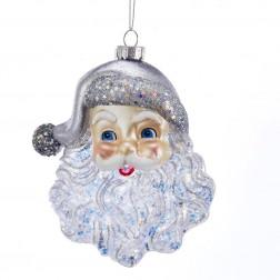 "Image of 5""Gls Santa Face W/Silver Glttr Orn"