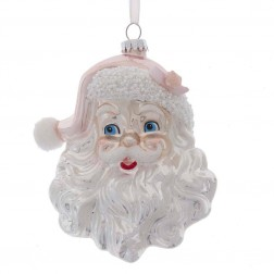 "Image of 5.9""Glass White/Pink Santa Head Orn"