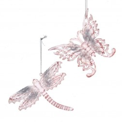"Image of 4.9""Pk/Clr Butterfly+Dragonfly Orns"
