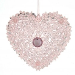"Image of 4.5""Plastic Pink Heart W/Gem Orn"