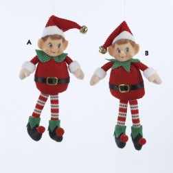 Red and Green Whimsical Christmas Elf Ornament