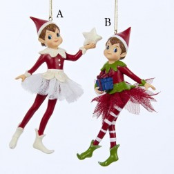 "5.5"" Resin Boy/Girl Elf Ornament"