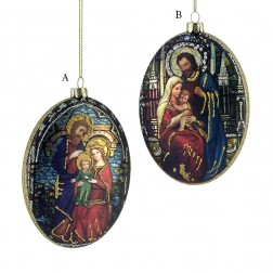 """4.5"""" Glass Holy Family Oval Disc Ornament"""