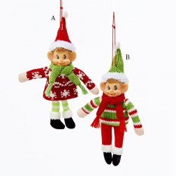 "6"" Stuffed Elf with Sweater Christmas Ornament"