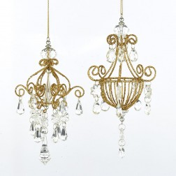 "Image of 6.5""Gold Glitter Chandelier Orn 2/A"