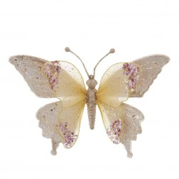 "Image of 9.5""Go/Pnk Lace Buttrfly W/Clip Orn"