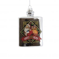 "Image of 4.5""Glass Silver Flask W/Santa Orn"