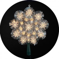 "Image of 8"" Clear with Silver Tinsel Round Treetop"