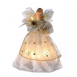 "Image of 10/L 9"" Ivory/Gold Angel Tree Topper"
