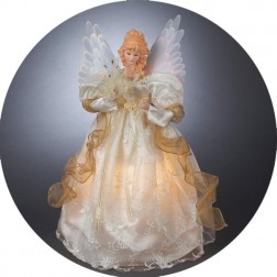 Image of Gold & Ivory Lighted Fiber Optic Angel Christmas Tree Topper