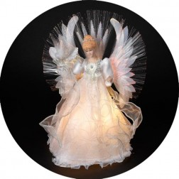 "Image of 15"" Multi-Colored Fiber Optic Angel Christmas Tree Topper"