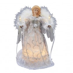 "Image of 10/L 9"" White/Silver Angel Tree Topper"