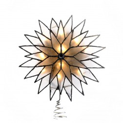 "Image of 9"" Silver Sunburst Capiz Lited Tree Topper"