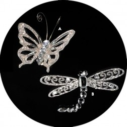 Silver Glitter Dragonfly/Butterfly Christmas Ornaments with Clips