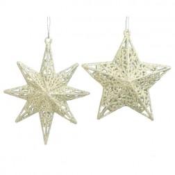 "Image of 4-5""Silver Glitter Star Orn 2/Asstd"