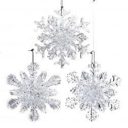 """Image of 4.5""""Plstc Snowflake Orn W/Loop 3/A"""