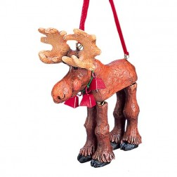 """4.5"""" Resin Moose with Hinged Legs Ornament"""