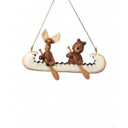"Image of 5""Resin Bear & Moose In Canoe Orn"