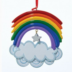 "4.375"" Resin Rainbow Ornament"