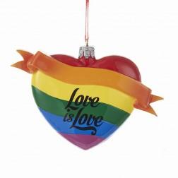 "4"" Rainbow ""Love is Love"" Glass Heart Ornament"