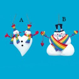 "4"" Resin Rainbow Snowman Ornament"