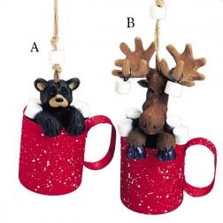 """3-4"""" Moose/Black Bear in Mug Ornament"""