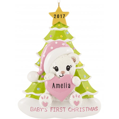 Image of Santa Bear with Tree Girl Personalized Christmas Ornament